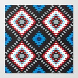 Colorful patchwork mosaic oriental kilim rug with traditional folk geometric ornament. Tribal style Canvas Print