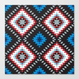 Colorful patchwork mosaic oriental kilim rug with traditional folk geometric ornament. Tribal style Canvas Print