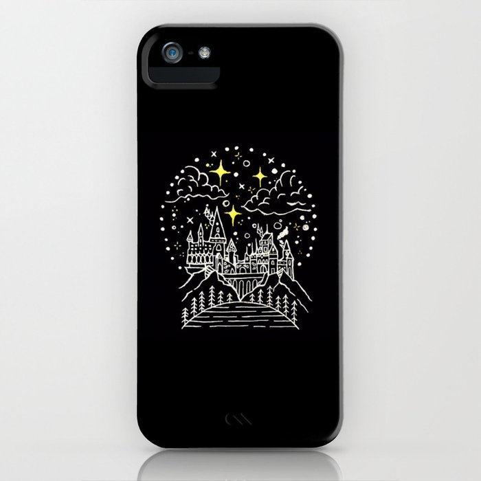 hogwarts castle illustration iphone case