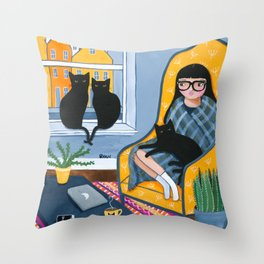 Working From Home With The Cats Throw Pillow