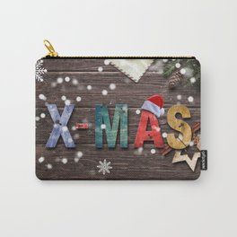 Christmas Wooden Plank Decorative X-Mas Design Carry-All Pouch