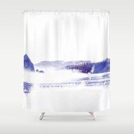 Haystack Rock watercolor Shower Curtain