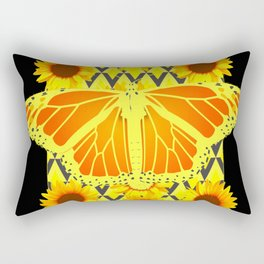 SUNFLOWERS & MONARCH BUTTERFLY BLACK GRAPHIC Rectangular Pillow