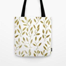 Leafy Twigs - Gold Tote Bag