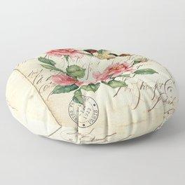 Vintage Roses Print Hummingbird Art Love Quote Rustic Decor Valentine Gift Floor Pillow