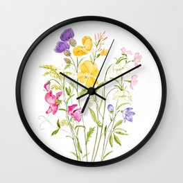 yellow pink white and  purple windflowers 2020 Wall Clock