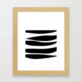 Irregular Stripes Black White Waves Art Design Framed Art Print