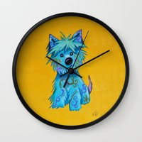 westie Wall Clocks featuring Westie dog by K.ForstnerArt