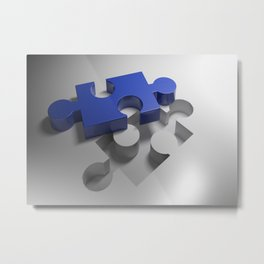 Blue puzzle near its hole Metal Print