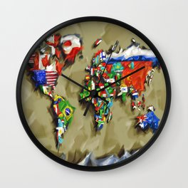 world map with flags vintage 2 Wall Clock