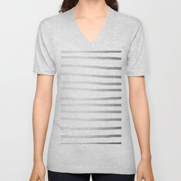Simply Drawn Stripes Moonlight Silver Unisex V-Neck