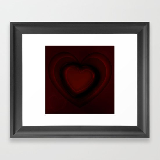 Red and black hearts Framed Art Print