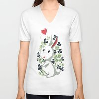 clover V-neck T-shirts featuring Clover Bunny by Freeminds