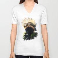 kakashi V-neck T-shirts featuring Grunge Copy Ninja by jpmdesign