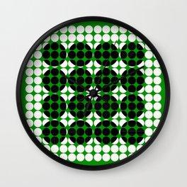 Hidden Circles - Green And Black Geometric Design Wall Clock
