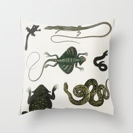 Vintage reptiles and amphibians Throw Pillow