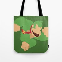 donkey kong Tote Bags featuring Donkey Kong(Smash)Green by ejgomez