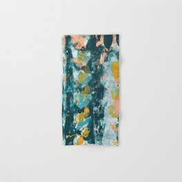 026: a vibrant abstract design in teal peach and yellow by Alyssa Hamilton Art Hand & Bath Towel