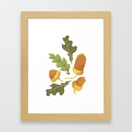 Autumn Forest Floor Pattern - White Framed Art Print