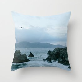 View of Golden Gate Bridge from Sutro Baths Throw Pillow