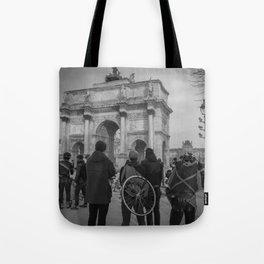 Cyclists, Le Louvre, Paris Tote Bag
