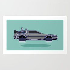 Flying Delorean Time Machine - Back to the future series Art Print