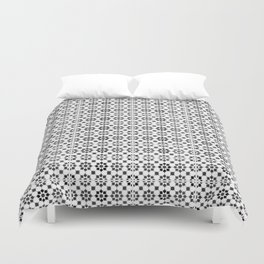 Oriental Style Mosaic Pattern  - Black and White Duvet Cover