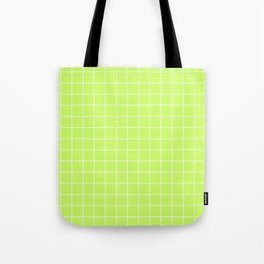 Lime Green with White Grid Tote Bag