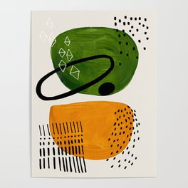 Mid Century Modern Abstract Colorful Art Patterns Olive Green Yellow Ochre Orbit Geometric Objects Poster