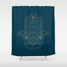 Hamsa Hand in Blue and Gold Shower Curtain