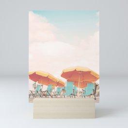 Beach Chairs and Umbrellas Mini Art Print