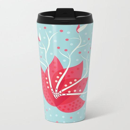 Exotic Winter Flower Metal Travel Mug