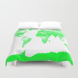 woRld Map Bright Green & White Duvet Cover