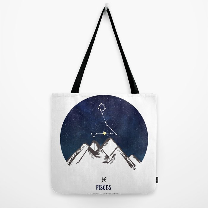 Astrology Pisces Zodiac Horoscope Constellation Star Sign Watercolor Poster  Wall Art Tote Bag