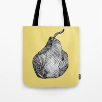 pear Tote Bags featuring Pear by Of Newts and Nerds