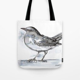 Bird with Heart Echo, Watercolor Tote Bag