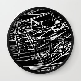 music note sign abstract background in black and white Wall Clock