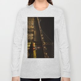Bay Bridge Fire Boat at Night Long Sleeve T-shirt