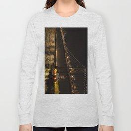Bay Bridge Fire Boat at Night Long Sleeve T-shirt