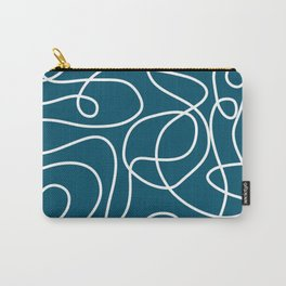 Doodle Line Art   White Lines on Peacock Blue Carry-All Pouch