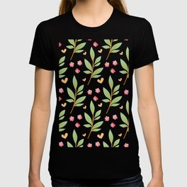 little red flowers and green leaves T-shirt