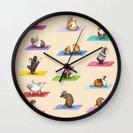 The Yoguineas - Yoga Guinea Pigs - Namast-hay! Wall Clock