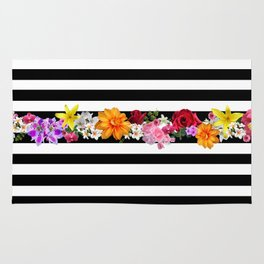 flowers on black and white stripes Rug
