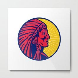 Old Native American Chief Headdress Circle Metal Print