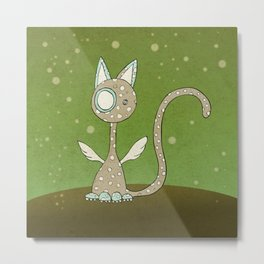 Winged polka-dotted beige cat and spring Metal Print