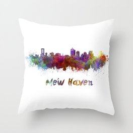New Haven skyline in watercolor Throw Pillow