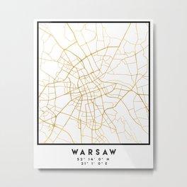 WARSAW POLAND CITY STREET MAP ART Metal Print