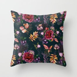 Autumn dark roses and florals Throw Pillow