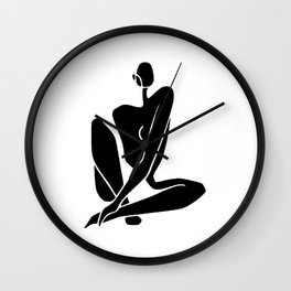 Sitting nude girl in black Wall Clock