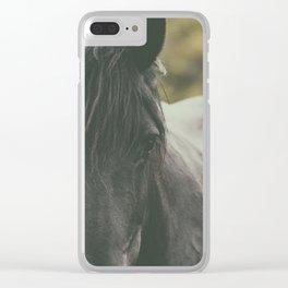 Black Horse Clear iPhone Case